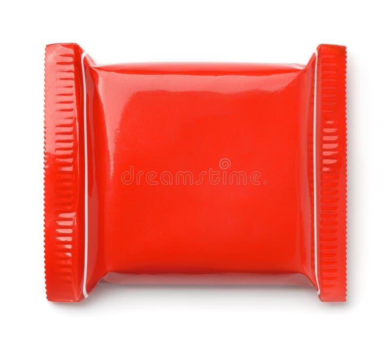 Vista superior del bolso rojo de la comida imágenes de archivo libres de regalías