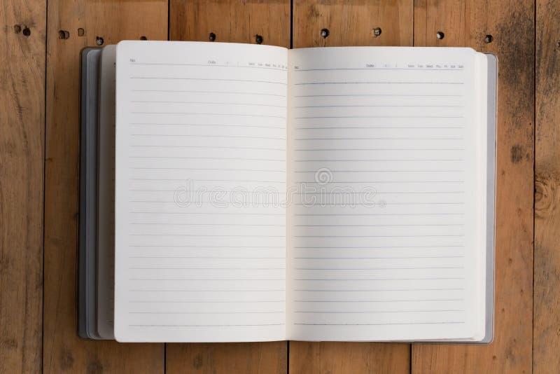 Vista superior del cuaderno abierto imágenes de archivo libres de regalías