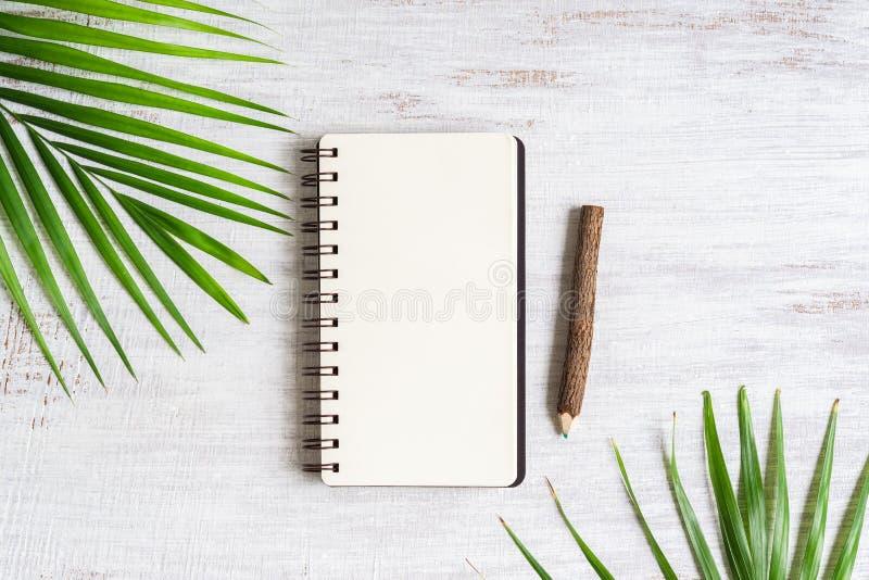 Vista superior del cuaderno en blanco con el lápiz de hoja de palma y de madera en el fondo de madera blanco del grunge, endecha  imagen de archivo libre de regalías