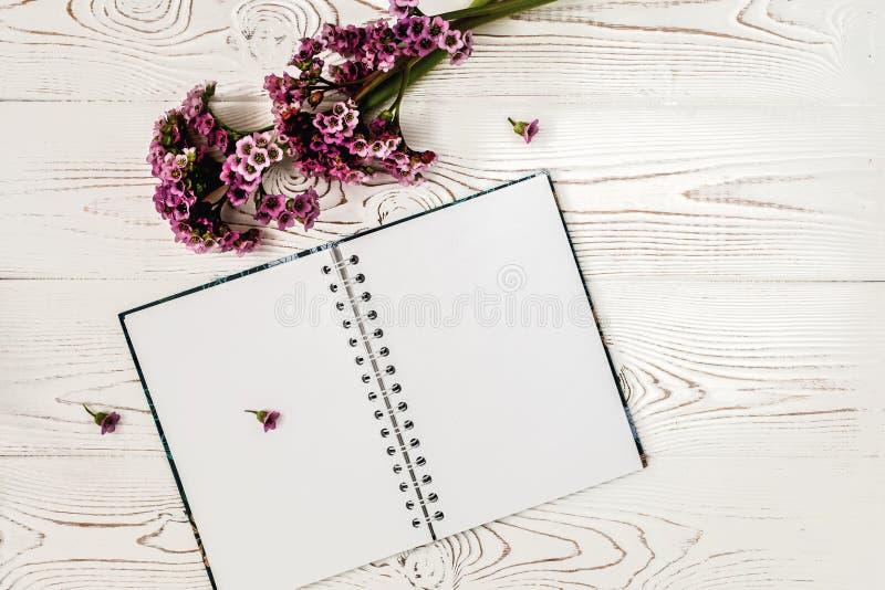 Vista superior del diario o cuaderno en blanco y flor púrpura en la tabla de madera blanca Dise?o plano fotografía de archivo libre de regalías