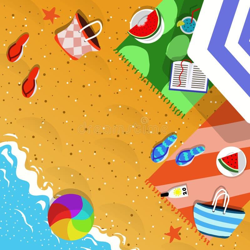 Vista superior del ejemplo del concepto de las vacaciones de verano fotografía de archivo