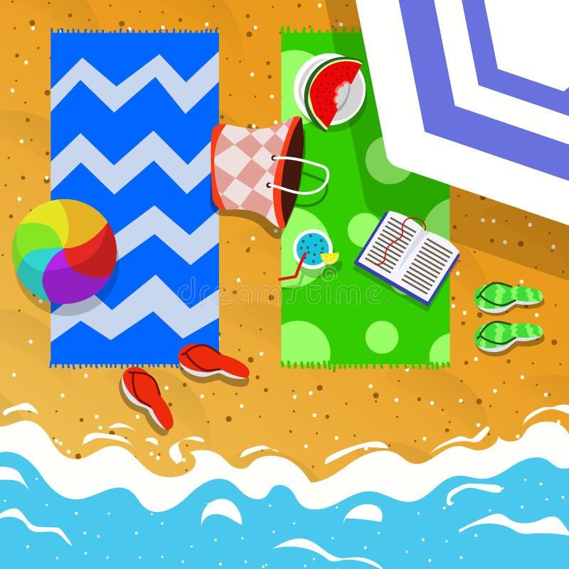 Vista superior del ejemplo del concepto de las vacaciones de verano fotografía de archivo libre de regalías