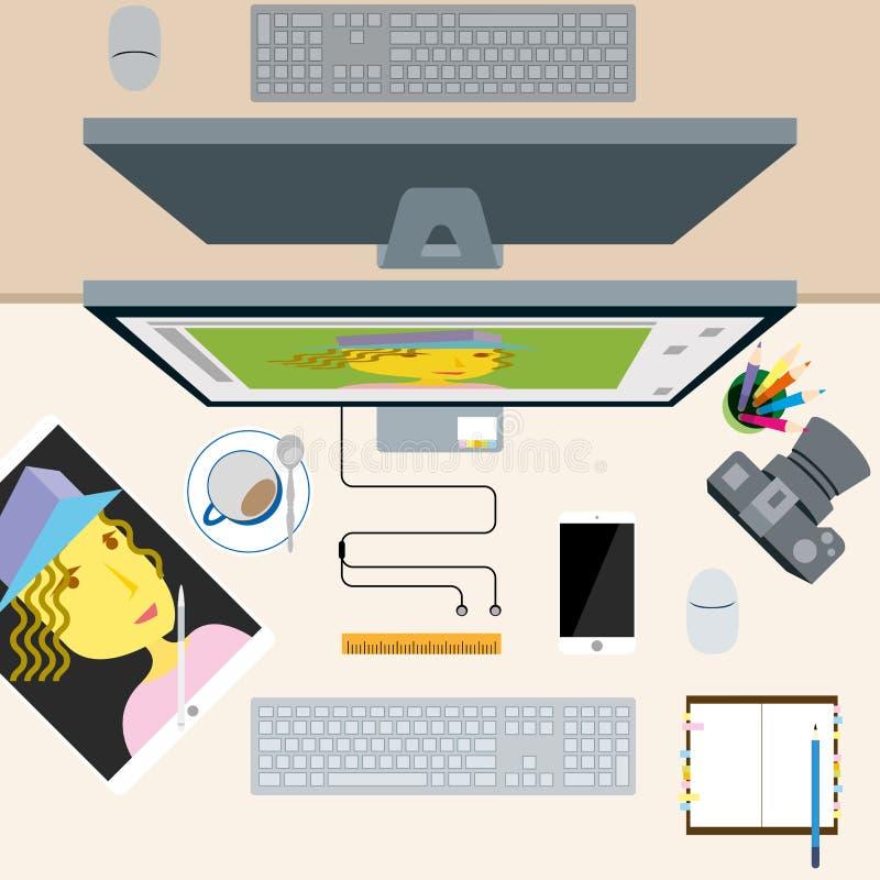 Vista superior del escritorio de oficina del concepto del diseñador del fotógrafo ilustración del vector