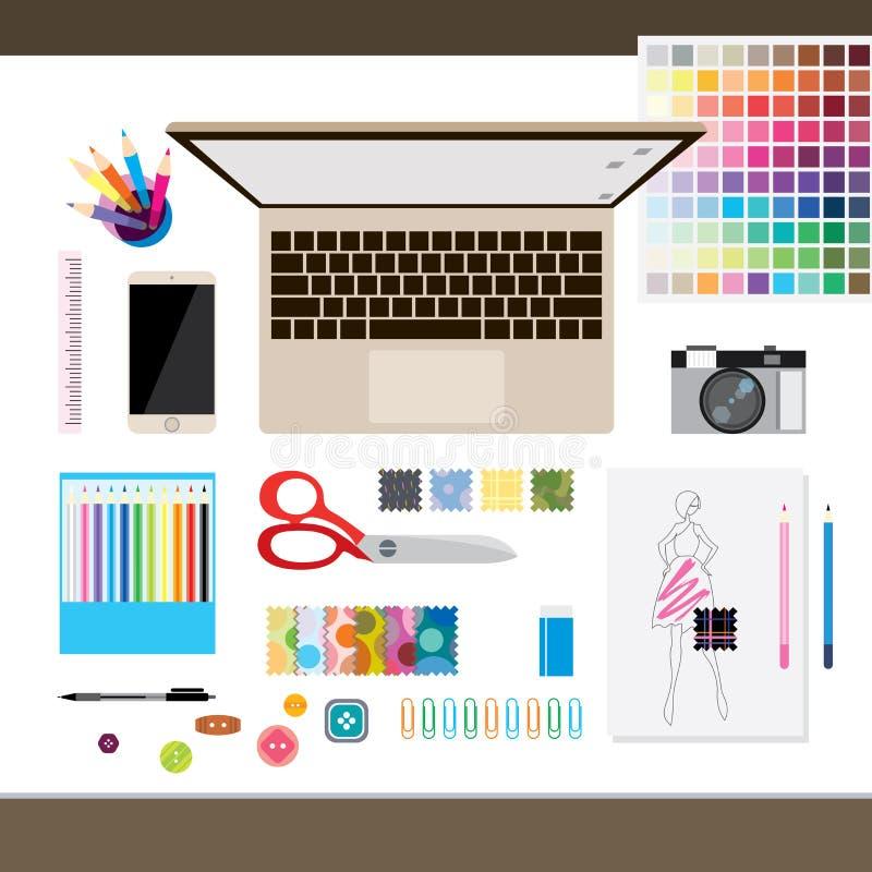 Vista superior del escritorio del concepto del diseñador de moda ilustración del vector