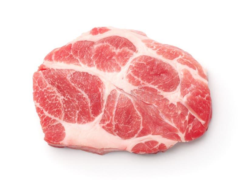 Vista superior del filete fresco crudo del cuello del cerdo foto de archivo