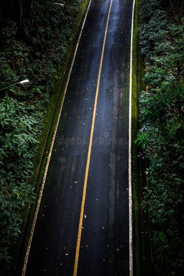 Vista superior del fondo de la textura del asfalto Camino vacío de la visión superior foto de archivo libre de regalías