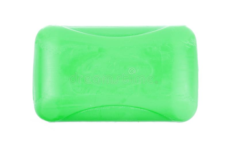 Vista superior del jabón de retrete verde de la higiene aislado en el fondo blanco fotos de archivo