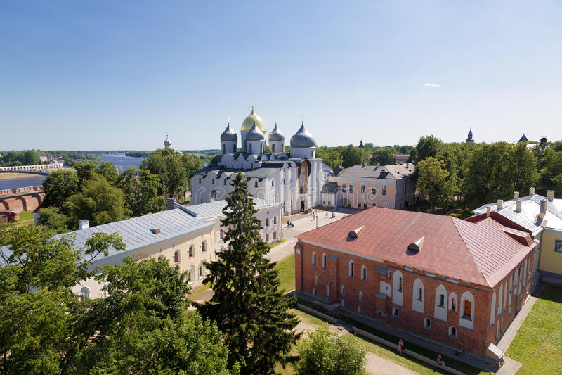 Vista superior del Kremlin en Veliky Novgorod, foto de archivo