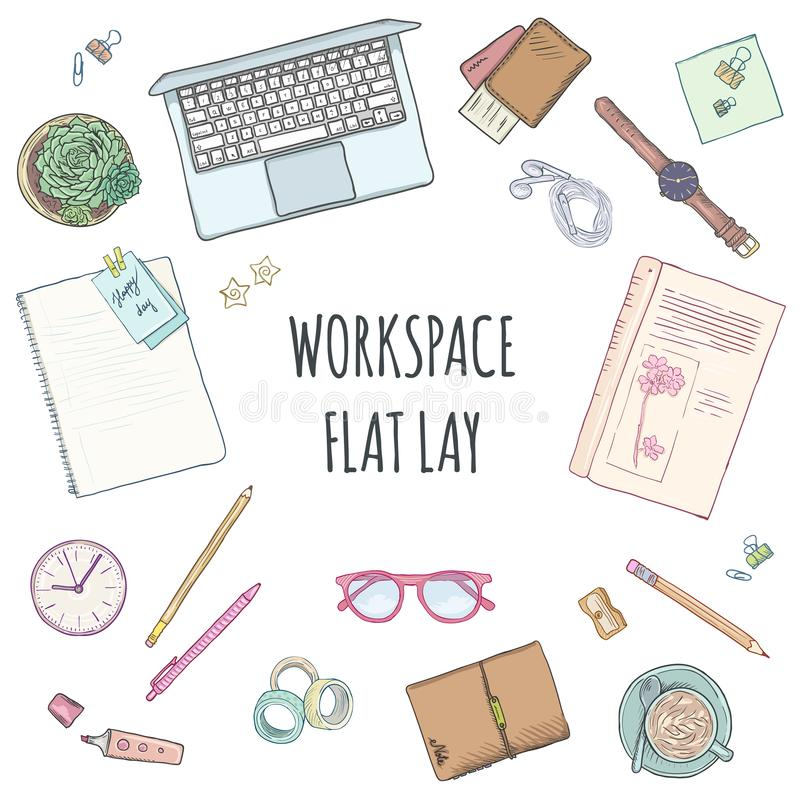Vista superior del lugar de trabajo, de materiales de oficina y de artilugios Opini?n plana de la endecha desde arriba Espacio cr libre illustration