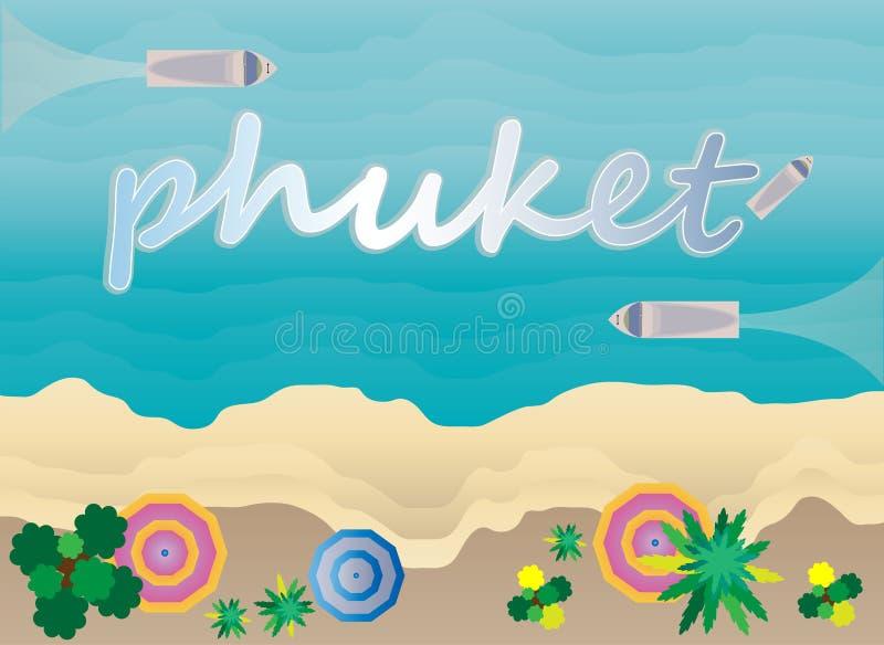Vista superior del mar y de la playa tropicales de Asia Phuket stock de ilustración