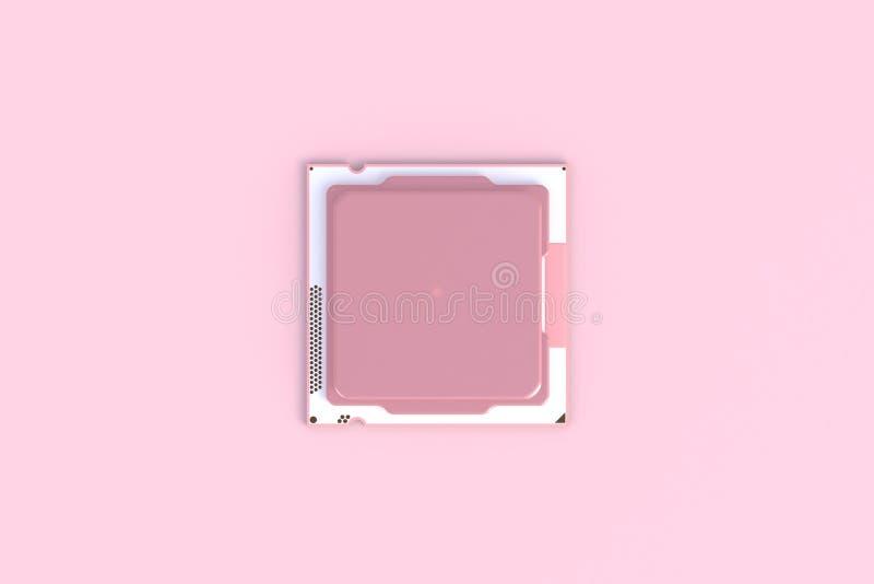 Vista superior del microchip de la unidad central de proceso de la CPU aislado en fondo rosado ilustración del vector