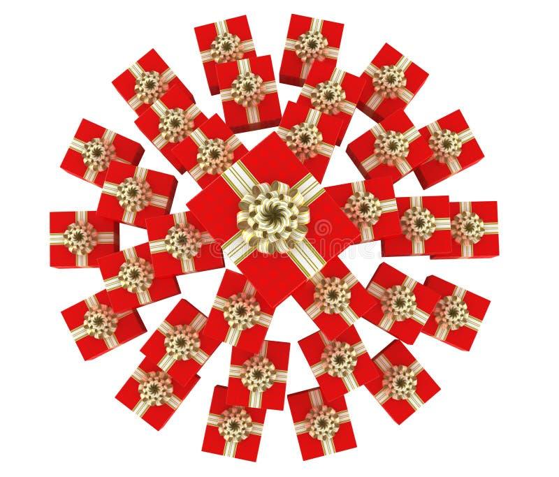 Vista superior del montón de los rectángulos de regalo ilustración del vector
