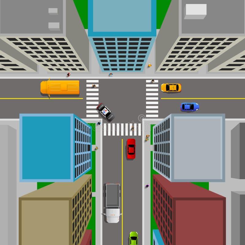 Vista superior del paisaje de la ciudad con los coches y los ciudadanos stock de ilustración