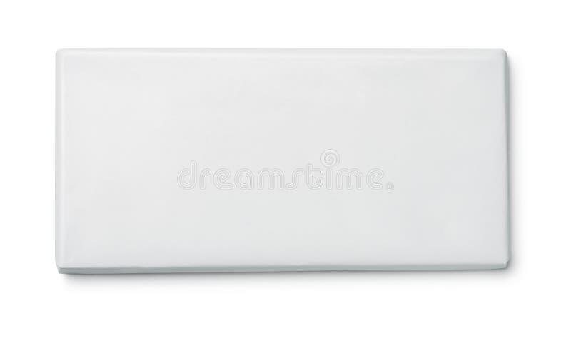 Vista superior del paquete del chocolate del papel en blanco fotografía de archivo libre de regalías
