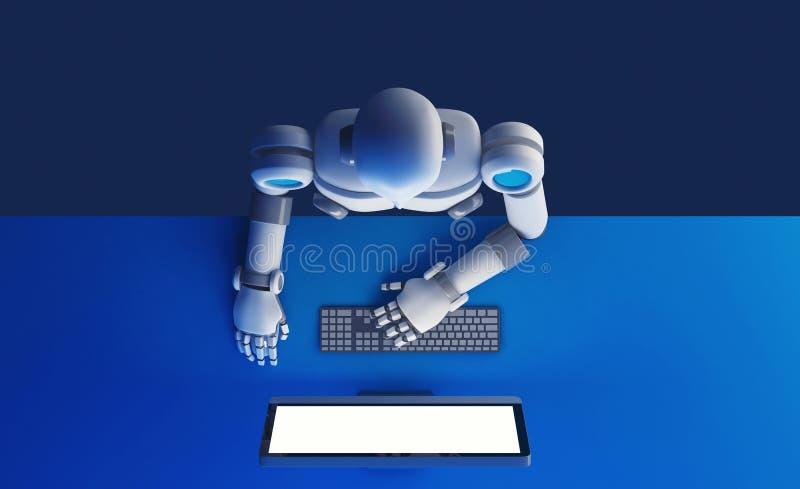 Vista superior del robot usando un monitor de computadora con la ISO de la pantalla en blanco ilustración del vector