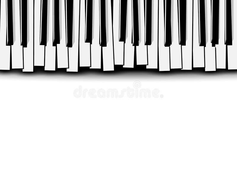 Vista superior del teclado de piano monocromático estilizado del plano en el fondo blanco Tarjeta de la invitación de la música libre illustration
