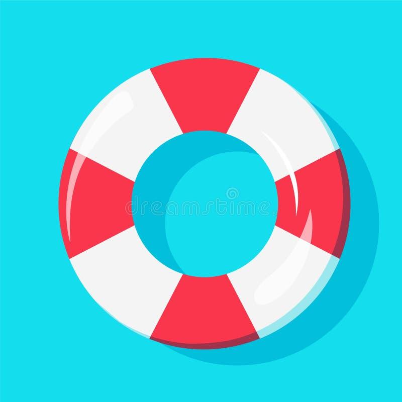 Vista superior del tubo de la nadada en el agua, para el icono del verano, diseño del fondo stock de ilustración