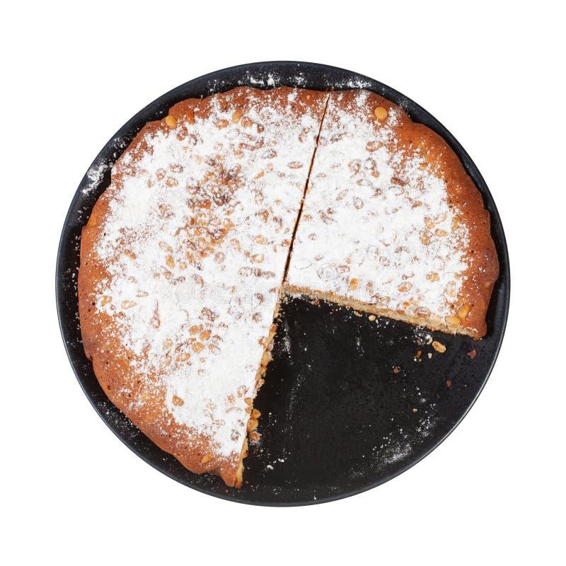 vista superior do bolo italiano cortado do pinhão na placa imagens de stock royalty free