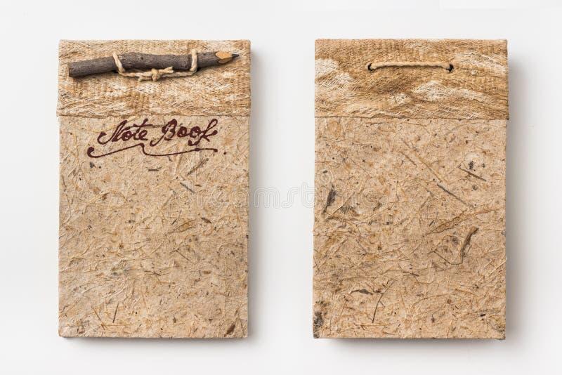 Vista superior do caderno feito a mão do vintage velho fotografia de stock