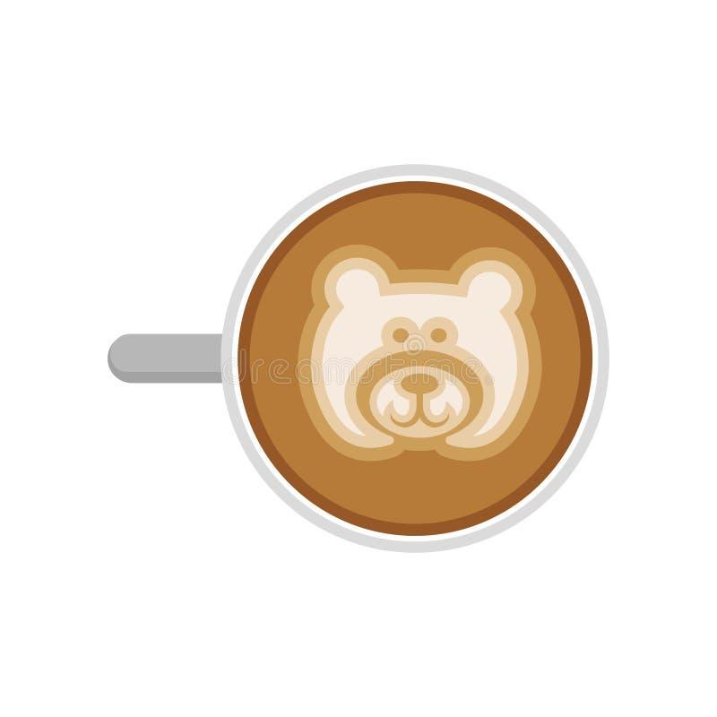 Vista superior do café quente com arte do latte do urso Copo do cappuccino fresco Bebida da manhã Vetor liso para o café ou o res ilustração stock