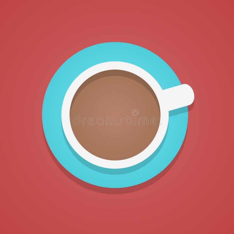 Vista superior do copo de café ilustração do vetor