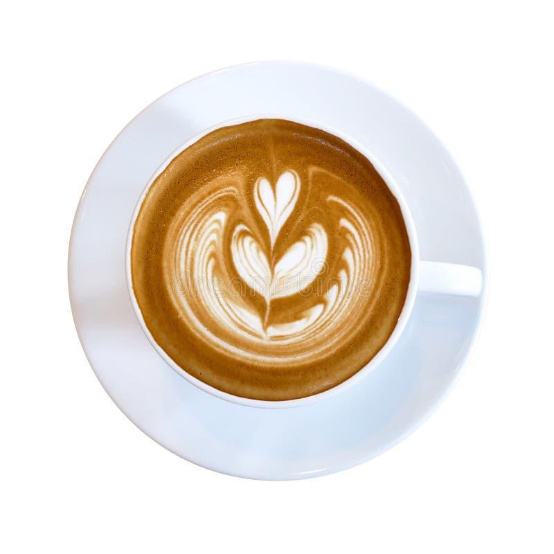 Vista superior do copo quente do latte do café com latte a do coração do rosetta mini foto de stock