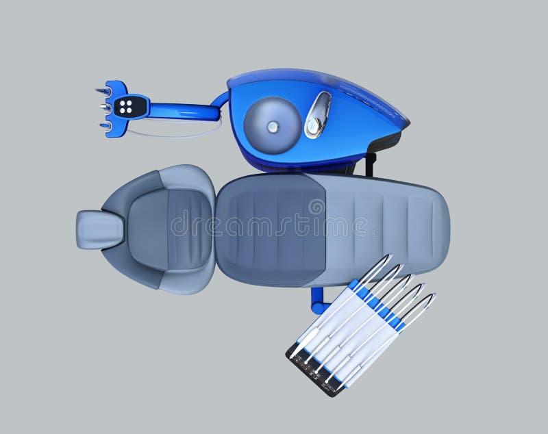 Vista superior do equipamento dental azul metálico da unidade no fundo cinzento ilustração stock