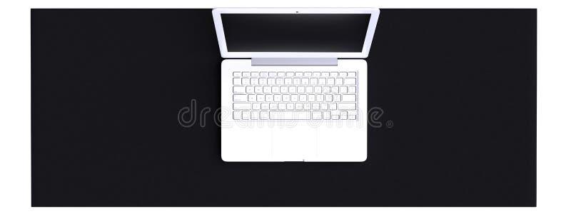 Vista superior do espaço de trabalho com o portátil na tabela ilustração do vetor