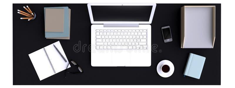 Vista superior do espaço de trabalho com o portátil na tabela ilustração stock