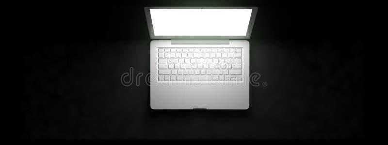 Vista superior do espaço de trabalho com o portátil na tabela ilustração royalty free