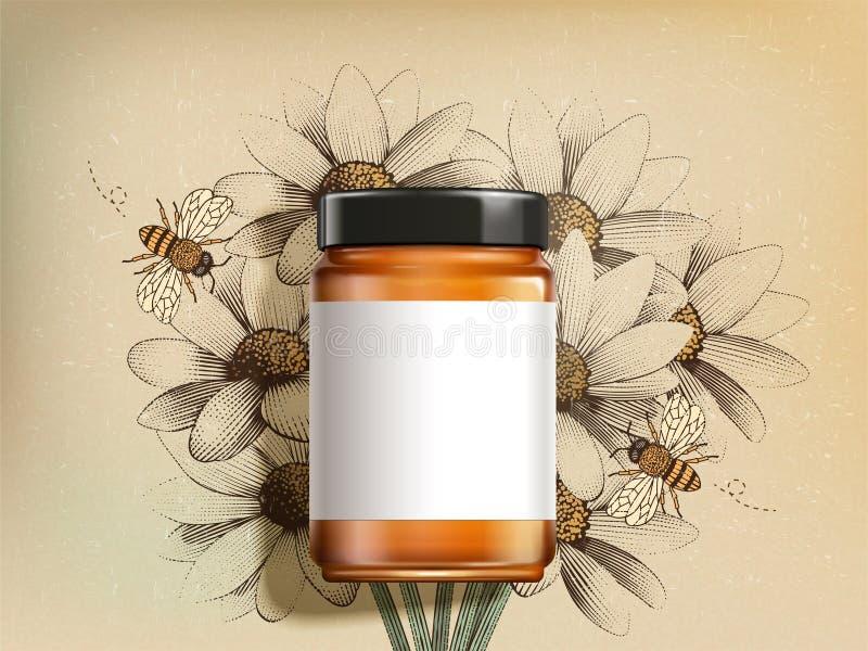 Vista superior do frasco do mel do wildflower ilustração royalty free