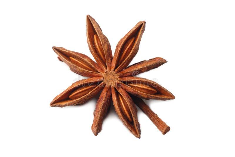 Vista superior do fruto seco e das sementes do anis de estrela isolados no branco imagens de stock royalty free