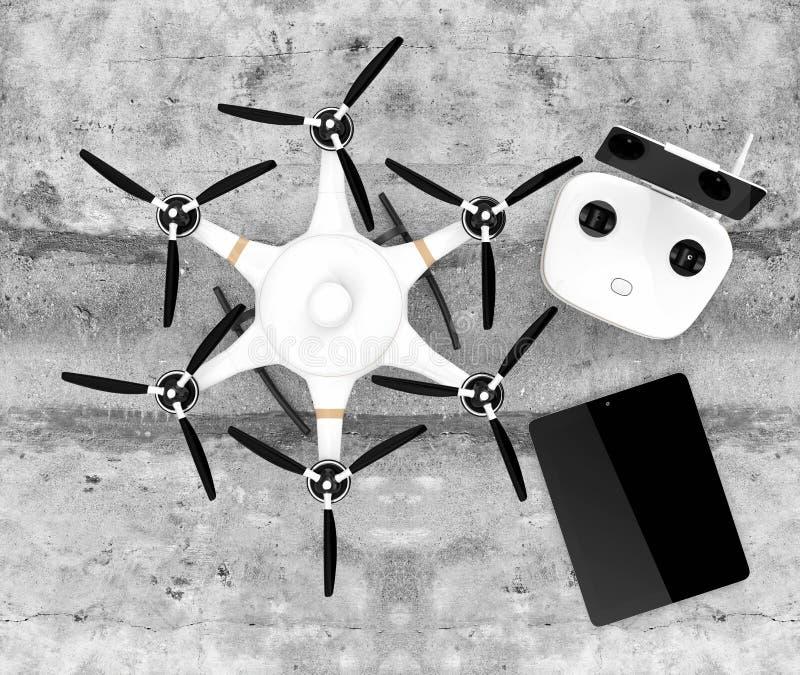 Vista superior do hexacopter, do controlador remoto e do PC da tabuleta ilustração do vetor