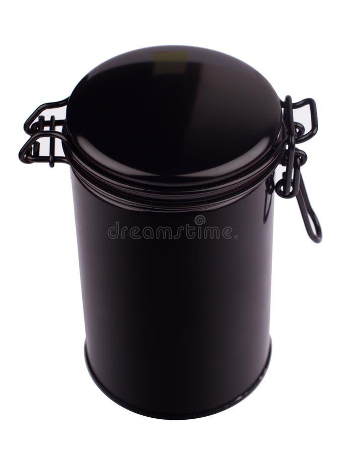 Vista superior do isolador fino preto metálico do formulário do cilindro do recipiente da lata imagem de stock royalty free