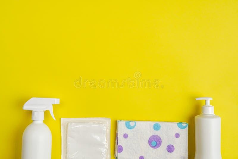 Vista superior do jogo do cuidado do bebê, com espaço da cópia fotos de stock royalty free