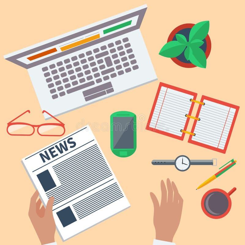 Vista superior do local de trabalho com portátil e dispositivos ilustração royalty free