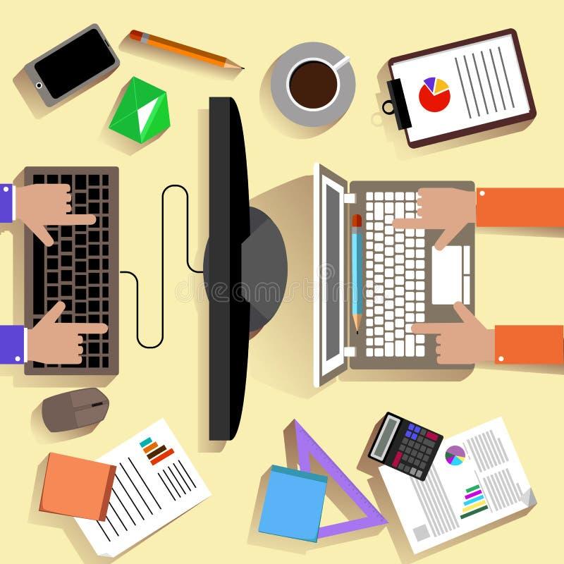 Vista superior do local de trabalho com portátil e dispositivos ilustração do vetor