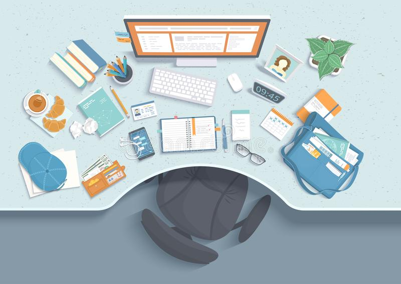 Vista superior do local de trabalho moderno e à moda Tabela com rebaixo, cadeira, monitor, livros, caderno, fones de ouvido, tele ilustração royalty free