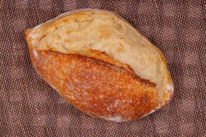 Vista superior do pão oval do wite fotografia de stock