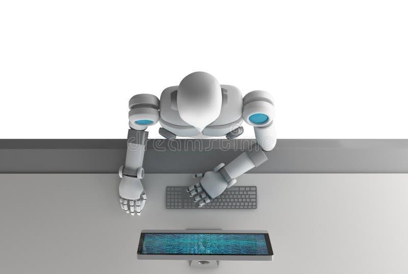 A vista superior do robô que usa um computador com dados binários numera o código ilustração stock