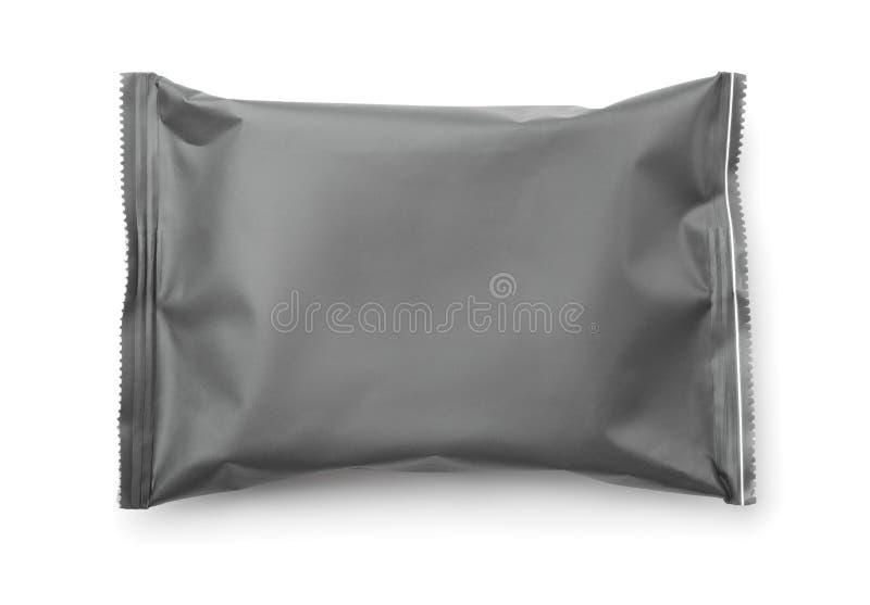 Vista superior do saco plástico cinzento vazio do alimento imagens de stock