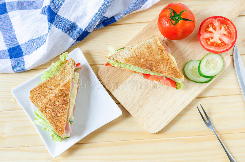 Vista superior do sanduíche saudável fotografia de stock royalty free