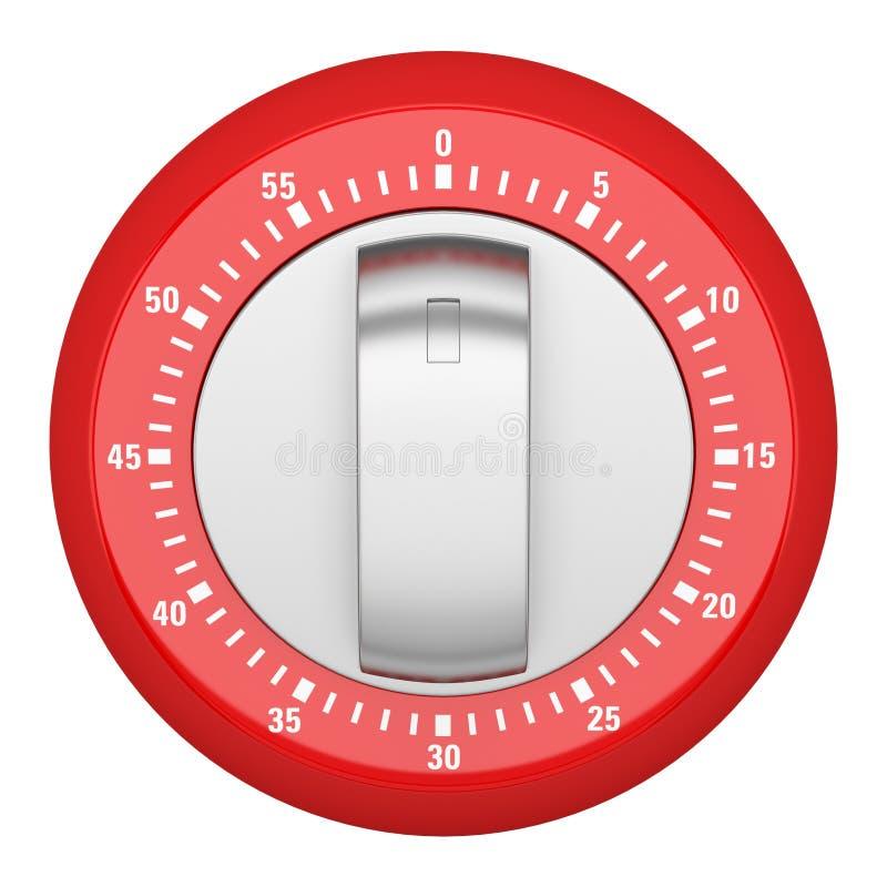 Vista superior do temporizador moderno vermelho da cozinha isolado no branco ilustração stock