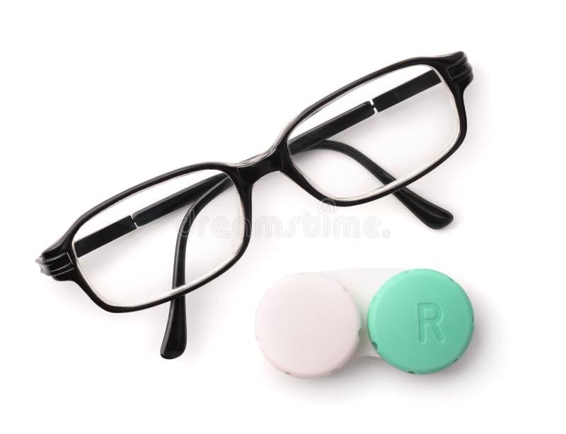 Vista superior dos monóculos e das lentes de contato do olho imagens de stock