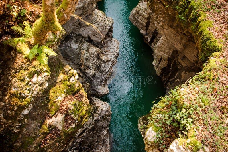 Vista superior hermosa de un río azul de la montaña en Georgia Barranco de Martvili Barranco de Okatse imagen de archivo libre de regalías