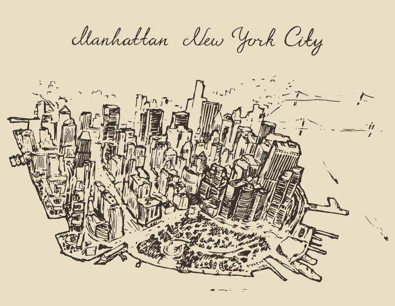 Vista superior Manhattan New York, esboço do Estados Unidos ilustração stock