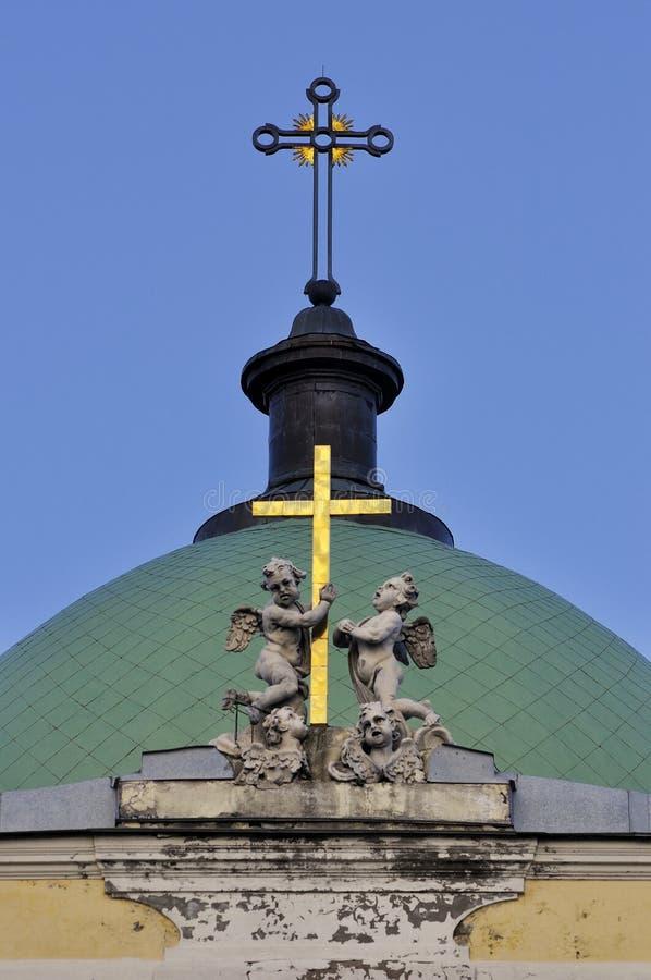 Vista superior na igreja de Catherine Armenian em St Petersburg, Rússia imagens de stock royalty free