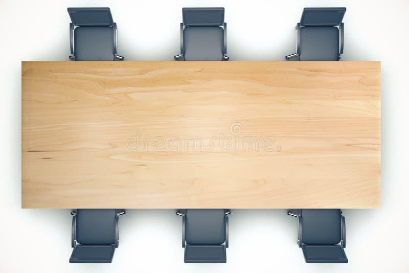 Vista superior na tabela de madeira da conferência e em cadeiras pretas ilustração royalty free