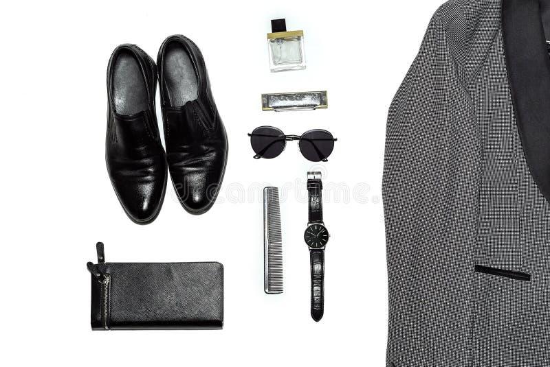 Vista superior no estilo, na forma, na roupa e no estilo dos homens fotografia de stock