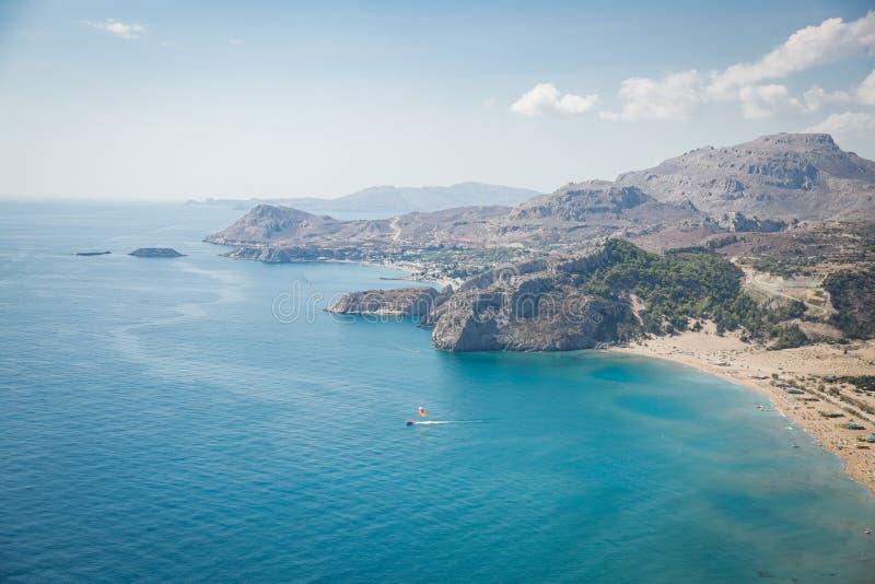 Vista superior panorâmico da praia de Tsampika, Grécia imagens de stock royalty free